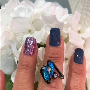 Gorgeous Lab Crated Blue Oval Firs Opal Ring
